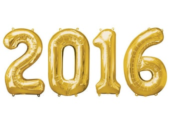 """Giant 40"""" Gold / Silver 2016 New Years Eve / Graduation Foil Number Balloons"""