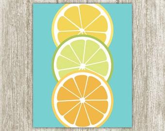 Fruit Printable Kitchen Printable Citrus Kitchen Print Lemon Lime Orange Kitchen Decor Kitchen