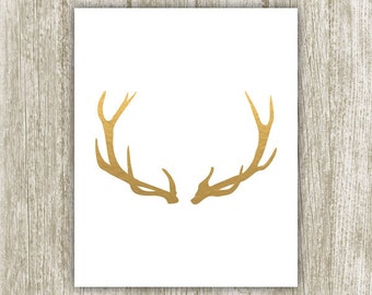 Gold Antler Print, Gold Foil Antler Printable, 8x10, Instant Download, Antlers Silhouette Printable Wall Art, Antler Wall Decor