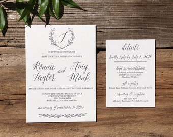 The Olive Suite - Letterpress Wedding Invitation Suite