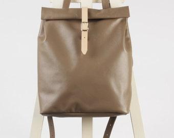 Dove beige leather backpack rolltop rucksack / To order