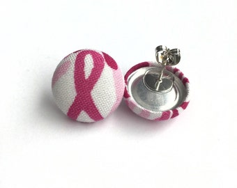 Small pink fight against breast cancer/ breast cancer ribbon fabric button earrings