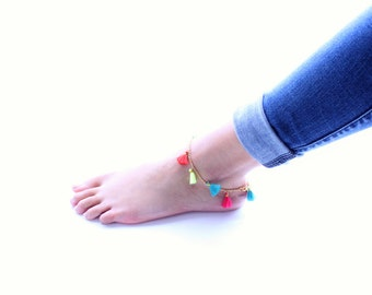 Colorful Tassel Gold Chain Anklet