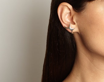 Unqiue Sterling Silver Stud Earrings that wrap around your ear, Modern Jewellery