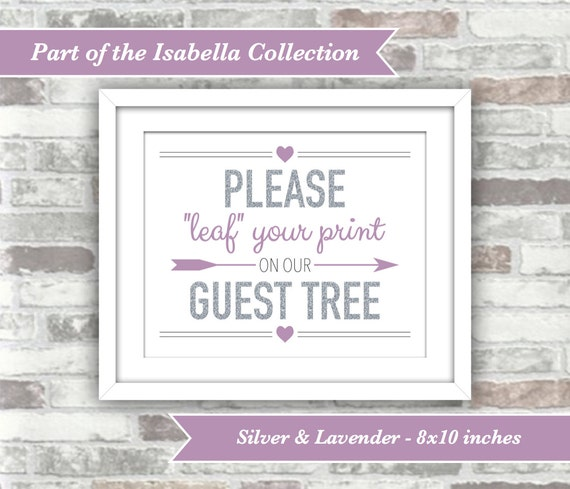 INSTANT DOWNLOAD - Isabella Collection - Printable Wedding Guest Tree Sign - Leaf Fingerprint - 8x10 Digital Files - Silver Lavender Purple