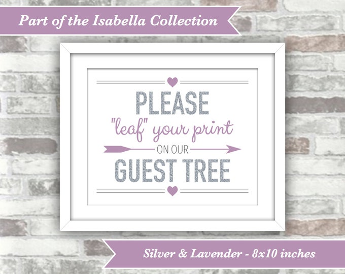 INSTANT DOWNLOAD - Isabella Collection - Printable Wedding Guest Tree Sign - Leaf Fingerprint - 8x10 Digital Files - Silver Lavender Purple