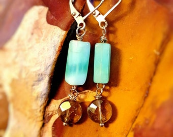 SageAine :  Smoky Quartz Crystal and Blue Opal  Silver Earrings, Peru, Third Eye and Earth Star Chakras, Reiki Charged, Crystal Healing