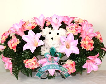 XL Beautiful Pink Purple Lilies With Cute Carnation Puppy Dog Tombstone Saddle Arrangement