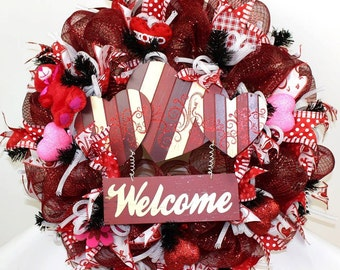 Valentines Day Deco Mesh Wreath with Large Welcome Sign