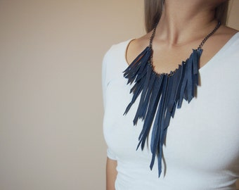 edgy blue leather suede fringe necklace