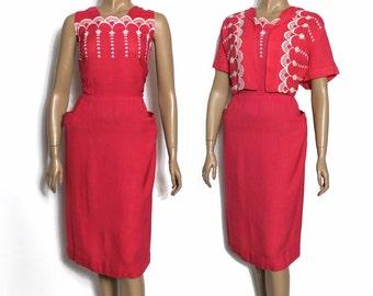 Vintage 1950s Dress Fuchsia Dress With Bolera Jacket Emboridered Rockabilly Garden Party Mad Men Couture Pinup Bombshell Swing Jive Metallic