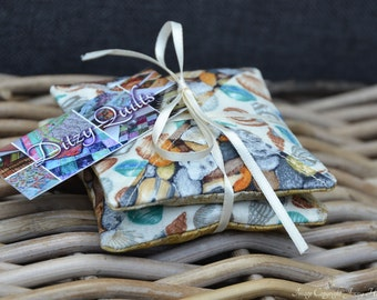 Lavender sachets Coastal beach fabric miniature patchwork lavender bags lavender pillows. Microwavable hand warmer or laundry drawer bags UK