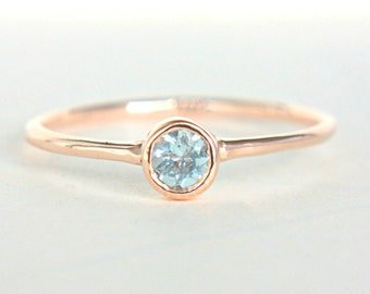 Rose Gold Aquamarine Ring 14k Gold Natural Aquamarine Gold Ring Aquamarine Engagement Ring Alternative Engagement Ring