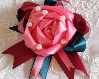 Handmade Ribbon Flower With Bow Ribbon Rose With Pearl MY-433-21 Ready To Ship