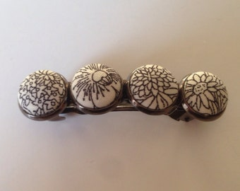 Black and White Fabric Covered Hair Barrette