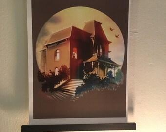 HALLOWEEN ART: Mother Dearest, Psycho art print (Extra large -  29.7 x 42.0cm 11.69 x 16.53 inches)