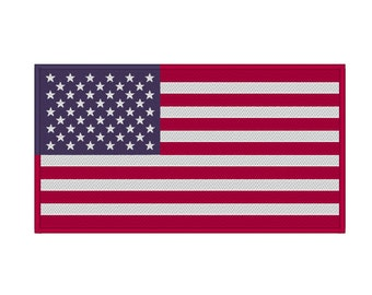 American Flag with Optional Satin Border United States USA Embroidery Design