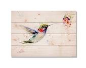 Bird Print, Bird Art Decor. Bright Hummingbird on Cedar. Perfect Art For Your Outdoor Living Space (DCOK2014)