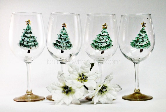 Christmas Wine Glasses Set of 4 Hand Painted Christmas