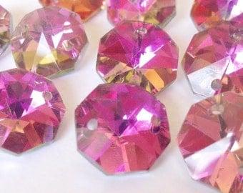50 Metallic Rose Rainbow Chandelier Crystal Beads Octagon Shabby Chic Prisms 14mm