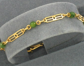 "Vintage AVON 'Touch of Color' Bracelet (1980). Faux Jade Bead and Filigree Bracelet. Size 6-1/2"" Long. Vintage Avon Jewelry. Avon Bracelet"