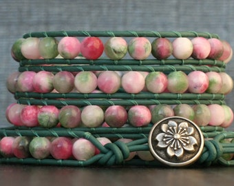 apple blossom jade wrap bracelet on dark emerald leather - silver flower button - pink green and white beaded bohemian jewelry