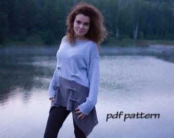 KNITTING PATTERN  Women sweater  Easy knitting Pattern for beginner Women pullover Lagenlook sweater Boho pattern Knit sweater Easy PATTERN