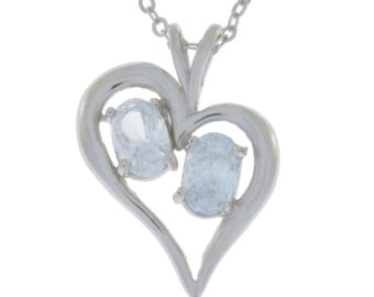White Topaz Oval Heart Pendant .925 Sterling Silver