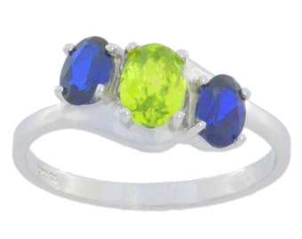 2 Ct Blue Sapphire & Peridot Oval Ring .925 Sterling Silver