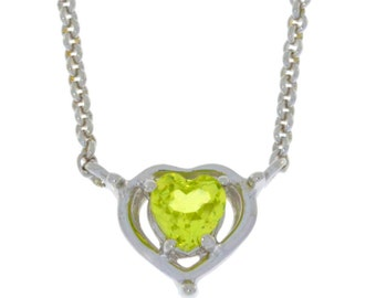 Valentine's Day Peridot Heart Pendant .925 Sterling Silver