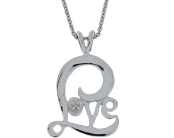 Diamond Love Necklace Pendant .925 Sterling Silver
