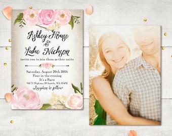Photo Wedding Invitation, Modern Whimsical Flowers Invitation, Rustic Peony Floral Boho Invitation, DIY Printable, Cheap Invitation (Fleur)