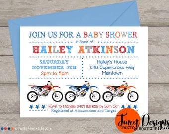 MOTORBIKE BABY Shower Invitation, Dirt Bike Baby Shower Invitations, Boy Baby Shower Invitation, Motorbike White Baby Shower Invitation