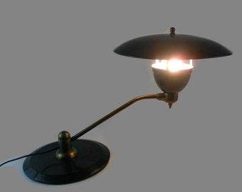 Mid Century UFO Lamp * Art Specialty Company  * Black with Brass Finish * Swivel Arm