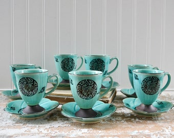 Vintage Teal Blue Tea Cup and Saucer Set - Retro Midcentury with Bird and Flower
