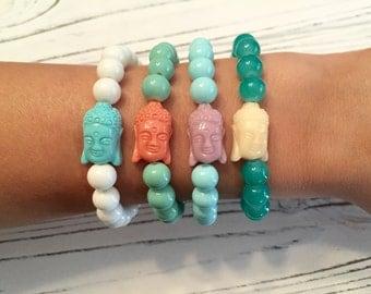 Stone Buddha Beaded Bracelet in Many Colors!