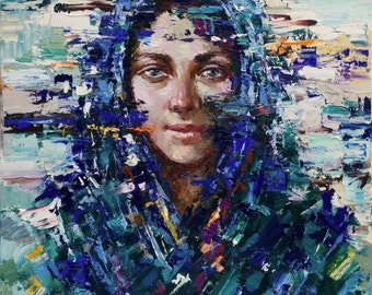 """Russian girl, Original abstract portrait painting on canvas 19.7"""" x 23.6"""" Contemporary Oil painting by Valiulina"""
