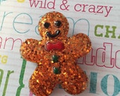 Gingerbread Man Brooch, Glitter and Resin with Hand-painted Details, Festive Christmas Jewelry, Gift Ideas for Mom, Gift Ideas for Grandma