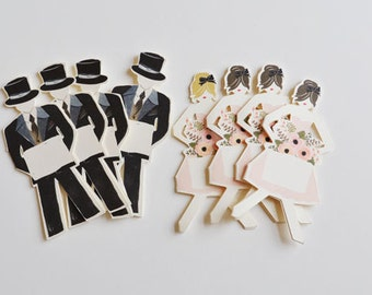 Mini Wedding Place Card paper dolls