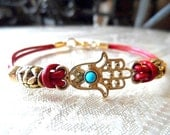 Hamsa Bracelet with Turquoise Bead on Red Leather Cord -  Protective Good Luck Bracelet