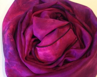Silk Scarf Hand-dyed Bright Pink, Deep Pink and Purple Extra Long