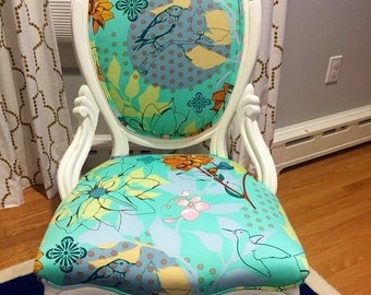 Refinished Antique Victorian Medallion Picture Back Chair - Reupholstered in Anna Maria Horner's Drawing Room 'Sketchbook' Fabric