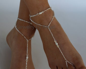 Crystal Bridal Barefoot Sandal and Anklet Set Crystal Wedding Foot Jewelry Slave Anklet Foot Thong Beach Wear
