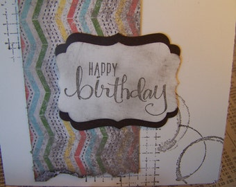 Electic Birthday Card: Handstamped Card