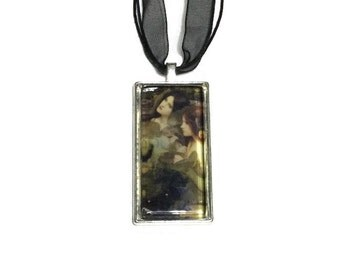 Hylas And The Nymphs Pendant, John Waterhouse Art Pendant, 2x1 inch Pendant, 16 inch Black Organza and Stringing Necklace