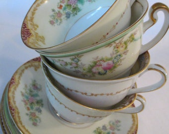 Vintage Mismatched China Cups & Saucers for Tea Party, Bridal Luncheon, Showers, Hostess Gift, Bridesmaid Gift - Set of 4