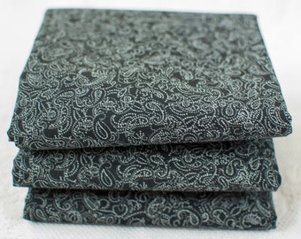 Black Paisley Fat Quarter | Black & White Cotton Paisley Print | 100% Cotton