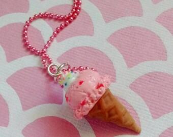 Pink Strawberry Ice Cream Cone Pendant - Handmade Polymer Clay Mini Food Dessert Candy Jewelry Necklace