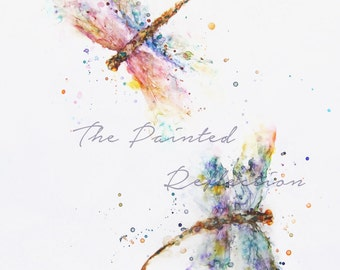 Dragonfly Watercolor/ dragonfly painting/ Contemporary Dragonfly art