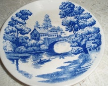 Vintage Blue and White dish, scene of lake with bridge and cottages,Marked with crown ,Nasco and Lakeveiw Japan 6 inch china saucer